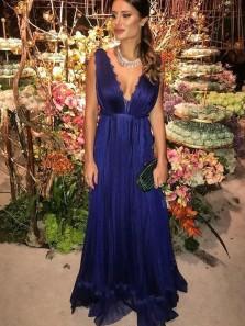 Charming A Line V Neck Royal Blue Chiffon Long Prom Dresses with Lace, Elegant Evening Dresses