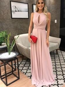 Elegant A Line Round Neck Blush Pink Ruffled Long Prom Dresses, Key Hole Evening Dresses