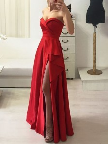 Cute A Line Sweetheart Red Sain Ruffled Slit Prom Dresses Under 100, Unique Evening Party Dresses