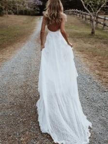 Bohemian Fairy A Line V Neck Lace Split Wedding Dresses with Appliques