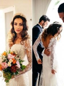 Elegant Mermaid V Neck Open Back Lace Long Sleeves Wedding Dresses