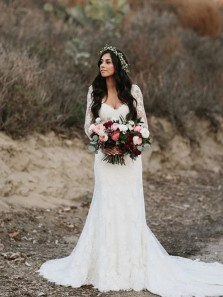 Gorgeous Mermaid V Neck Open Back Lace Long Sleeves Wedding Dresses with Train