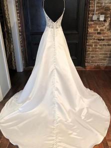 Elegant A Line V Neck Spaghetti Straps Open Back Lace & Satin Wedding Dresses
