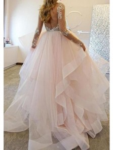 Fairy Ball Gown Round Neck Long Sleeves Lace Pink Long Wedding Dresses