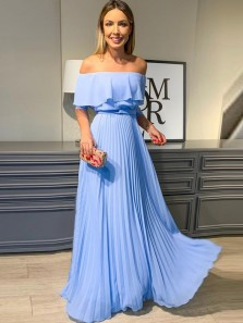 Charming A Line Off the Shoulder Chiffon Blue Long Prom Dresses, Elegant Formal Dresses