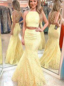 Charming Mermaid Two Piece Round Neck Cross Back Yellow Lace Long Prom Dresses, Evening Party Dresses