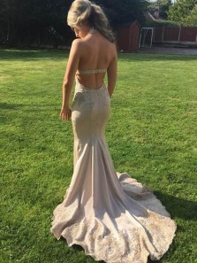 Charming Mermaid V Neck Halter Open Back Blush Long Prom Dresses with Lace