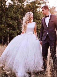Gorgeous Ball Gown Round Neck Open Back Tulle & Satin Long Wedding Dresses with Bow