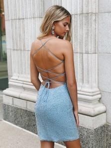 Sheath Round Neck Spaghetti Straps Cross Back Blue Beaded Short Homecoming Dresses, Cute Short Prom Dresses