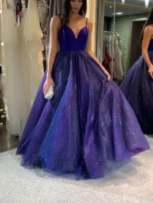 Gorgeous Ball Gown V Neck Cross Back Royal Blue Tulle Sparkly Prom Dresses, Quinceanera Dresses PD2020705
