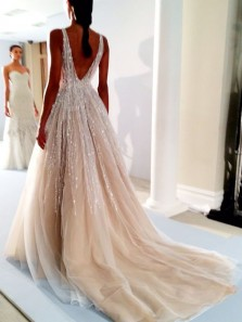 Gorgeous Ball Gown V Neck Open Back Champagne Beaded Long Wedding Dresses
