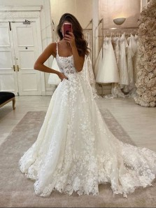 Gorgeous Ball Gown Scoop Neck Open Back Lace Wedding Dresses, Luxurious Wedding Gowns