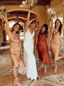Charming Sheath Cowl Neck Silk Satin Knee Length Bridesmaid Dresses Under 100 BD2021701
