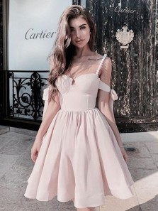 Cute A Line Sweetheart Spaghetti Straps Peal Pink Short Homecoming Dresses, Bow Sleeves Short Party Dresses