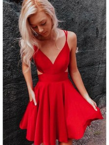 Cute A Line V Neck Spaghetti Straps Red Homecoming Dresses with Pockets, Short Prom Dresses