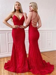 Elegant Mermaid V Neck Spaghetti Straps Red Lace Prom Dresses, Cross Back Evening Dresses