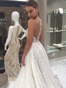 Gorgeous Glitter Ball Gown Deep V Neck Sequins Lace Wedding Dresses, Open Back Wedding Gowns