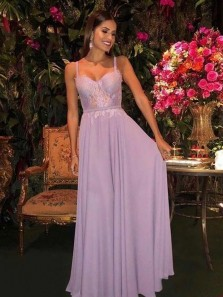 Cute A Line Sweetheart Straps Light Lilac Chiffon & Lace Long Prom Dresses, Elegant Evening Party Dresses
