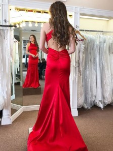 Elegant Sheath Round Neck Open Back Red Satin Long Prom Dresses with Train, Formal Evening Party Dresses