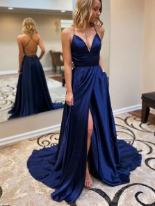 Cute A Line V Neck Cross Back Slit Navy Satin Long Prom Dresses with Train, Evening Dresses with Pockets
