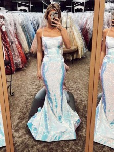 Charming Mermaid Spaghetti Strap Cross Back Sparkly Satin Long Prom Dresses, Modern Evening Dresses