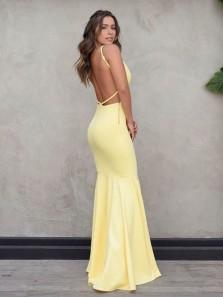 Charming Mermaid Sweetheart Spaghetti Straps Daffodil Satin Long Prom Dresses, Elegant Evening Party Dresses