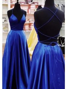 Cute A Line V Neck Spaghetti Straps Cross Back Royalblue Satin Long Prom Dresses, Simple Prom Dresses with Pockets