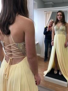 Cute A Line V Neck Spaghetti Straps Slit Chiffon Long Prom Dresses, Cross Back Beading Party Dresses