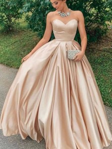Cute Ball Gown Sweetheart Satin Champagne Long Prom Dresses, Elegant Quinceanera Dresses with Pockets