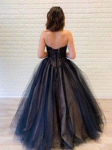 Cute Ball Gown Strapless Open Back Black & Champagne Lace Prom Dresses, Sweet 16 Dresses