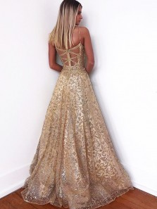 Glitter Gorgeous A-Line Sweetheart Cross Back Gold Sequins Long Prom Dresses, Spaghetti Straps Prom Dresses