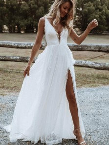 Boho A Line V Neck Open Back Lace & Chiffon Slit Wedding Dresses, Spaghetti Straps Beach Wedding Dresses