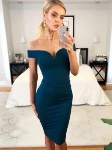 Bodycon Off the Shoulder Navy Blue Satin Short Dresses, Cocktail Dresses Under 100
