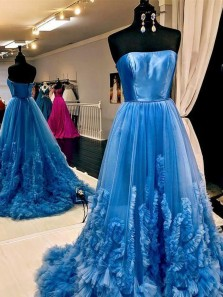 Gorgeous Ball Gown Strapless Blue Ruffled Tulle Long Prom Dresses