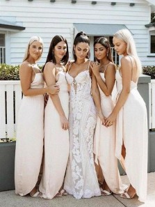 Simple Sheath Spaghetti Straps Slit Long Bridesmaid Dresses with Bow Under 100