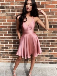 Cute A Line V Neck Spaghetti Straps Blush Satin Short Homecoming Dresses with Pockets Under 100