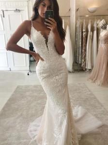 Charming Mermaid V Neck Open Back Lace Ivory Wedding Dresses with Train, Detachable Wedding Dresses