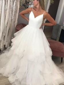 Gorgeous Ball Gown V Neck Spaghetti Straps Open Back Wedding Dresses with Train, Ruffled Tulle Wedding Dresses