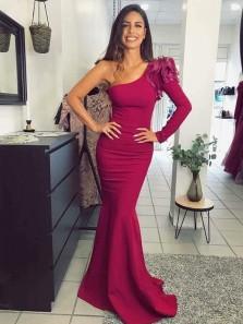 Elegant Mermaid One Shoulder Long Sleeve Dark Red Long Prom Dresses, Evening Party Dresses