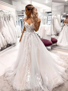 Ball Gown V Neck Open Back Tulle Lace Ivory & Pink Wedding Dresses with Train