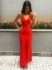 Charming Sheath V Neck Spaghetti Straps Red Satin Long Prom Dresses with Slit, Fashion Evening Party Dresses