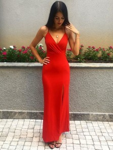 Charming Sheath V Neck Spaghetti Straps Red Satin Long Prom Dresses with Slit, Fashion Evening Party Dresses