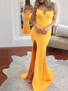 Charming Mermaid Sweetheart Open Back Elasitc Satin Yellow Prom Dresses, Slit Evening Dresses