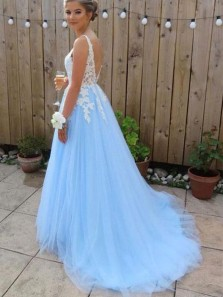 Cute Ball Gown V Neck Open Back Light Blue Tulle Prom Dresses with Lace, Elegant Gown Dresses PD2031801