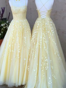 Fashion Cute Ball Gown Scoop Neck Spaghetti Straps Cross Back Daffodil Tulle Prom Dresses, Yellow Lace Prom Dresses PD2031802