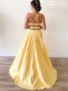 Simple A Line Scoop Neck Cross Back Yellow Satin Slit Long Prom Dresses with Pockets, Cute Evening Party Dresses Under 100