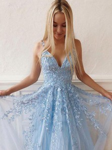 Cute Fashion V Neck A Line Open Back Blue Lace Long Prom Dresses, Sweet Prom Party Dresses