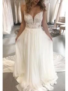 Romantic A Line Sweetheart Spaghetti Straps Lace Chiffon Wedding Dresses For Beach Wedding