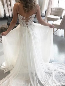 Romantic A Line Sweetheart Spaghetti Straps Lace Chiffon Wedding Dresses For Beach Wedding