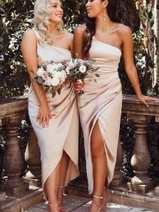 Charming Sheath One Shoulder Champagne Satin Slit Bridesmaid Dresses for Wedding Party Under 100 BD2031901